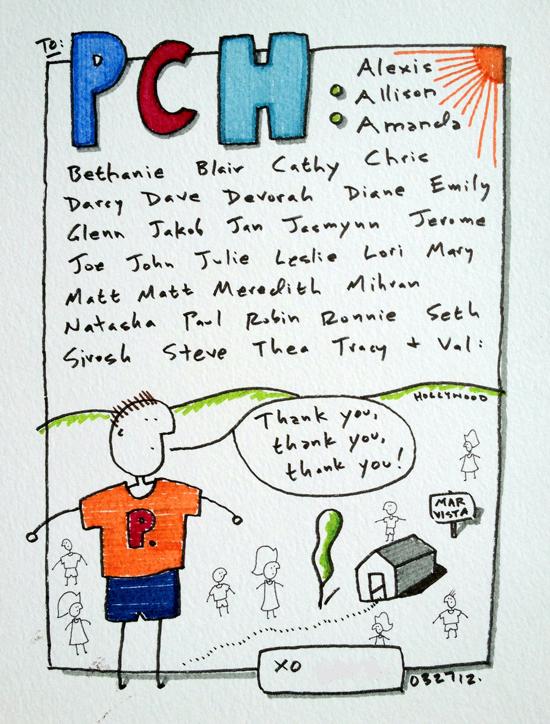 pch treatment thank you testimonial card