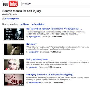 Self Injury Videos on YouTube